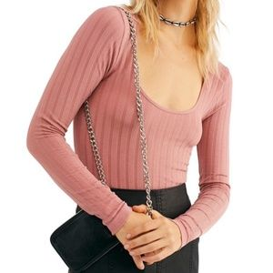 Free People NWT LongSleeve Scoop Neck Stretchy Top